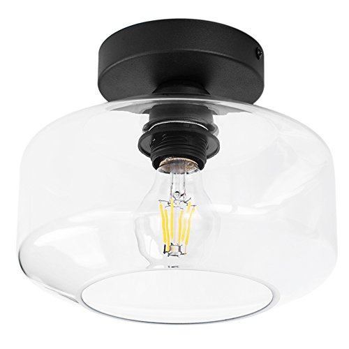 Industrial Ceiling Light Fixture with Clear Glass Shade simi-Flush for Dining Room, Bedroom, Cafe, Bar, Corridor, Hallway, Entryway, Passway by BSM