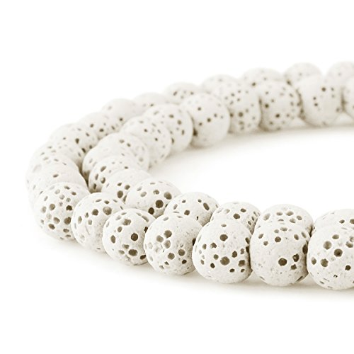 (BEADNOVA 8mm Color Lava Gemstone Beads Energy Stone Healing Power Loose Beads for Jewelry Making 48~50pcs (8mm x 1 Strand, White))
