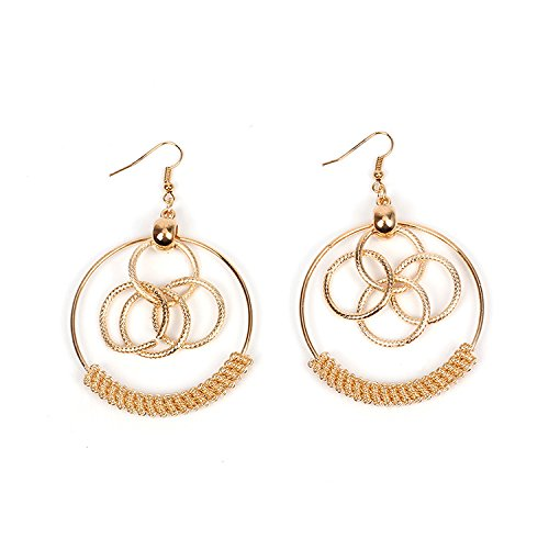 CHOA Geometric Personality Circle Earrings The Five Circles Stand Together and Are Connected to Each Other.