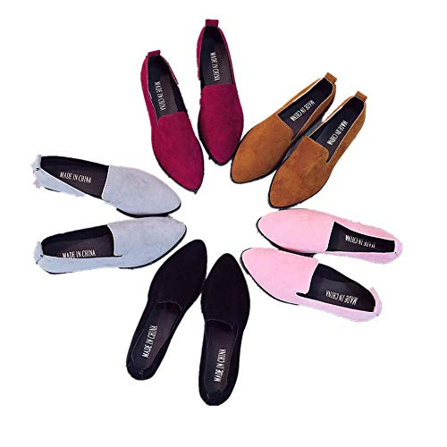 Women Slip On Flat Loafer Low Heel Pointed Toe Casual Shoes Comfy Walking Driving Flats Shoes (Brown, US 7)