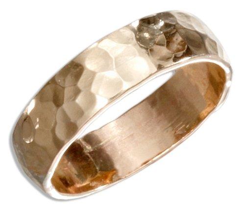 12 Karat Gold Filled 5mm Flat Hammered Wedding Band Ring (size 06)