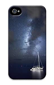 3D PC For Case Samsung Galaxy S4 I9500 Cover Custom Hard Shell Skin With Nature Image- A Boat Under the Dark Natures
