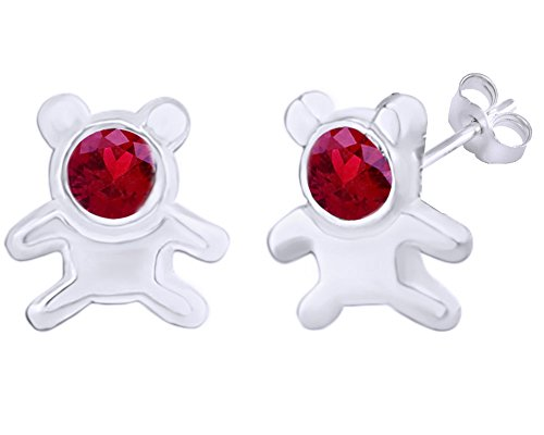 Teddy 14k Bear Ring (Mothers Gift Simulated Ruby Cute Teddy Bear Stud Earrings 14K White Gold Over Sterling Silver)