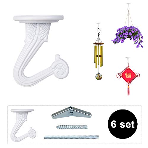 (OOTSR 6 Sets Metal Ceiling Hooks, Heavy Duty Swag Ceiling Hooks With Hardware for Hanging Plants/Chandeliers/Wind Chimes/Ornament)
