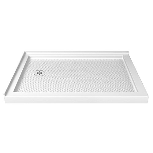 DreamLine SlimLine 34 in. D x 48 in. W x 2 3/4 in. H Left Drain Double Threshold Shower Base in White