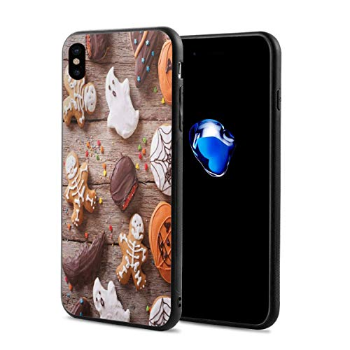 Phone Case Cover for iPhone X XS,Sweets Covered in Chocolate Dipped in Frosting Halloween Theme Ghosts and Pumpkins,Compatible with iPhone X/XS 5.8]()