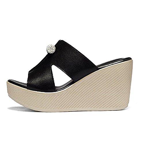 JULY Heels Platform Comfy on Fashion Sandals Ladies Women Peep Dress Black Walking Slippers Toe High Slip Beaded T for Wedge x0wAqadAX