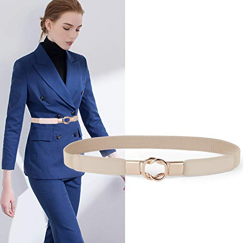 Womens Skinny Dress Belt for Ladies Fashion Elastic Waist Band Belts Gold - Accent Womens Buckle