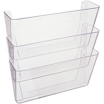 "Deflecto DocuPocket, Wall File Organizer, Stackable, Letter Size, Clear, Set of 3, 13""W x 7""H x 4""D"