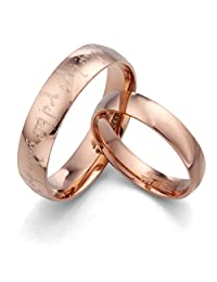 Gemini Personalized Elvish Tengwar His & Her's Dome Comfort Fit Rose Gold Promise Wedding Titanium Ring Set, Valentine's Day Gift US size 4-16 (half sizes available)