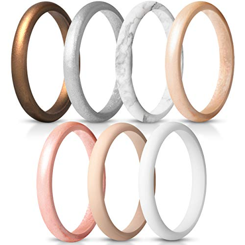 ThunderFit Women's Thin and Stackable Silicone Rings Wedding Bands