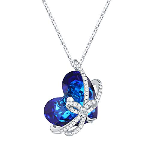 SHELOVES Heart of The Ocean Blue Crystals Pendant Necklace 925 Sterling Silver CZ Jewelry for Women (Titanic Heart Of The Ocean Necklace For Sale)