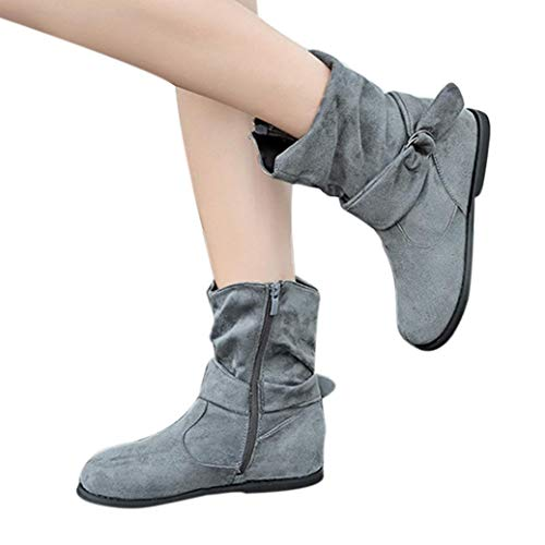 Boot Zipper Ankle Boots Flat Straps Mid Winter Gray Side Slouchy Short Calf Buckle Womens Booties Shoes qSpt8xw