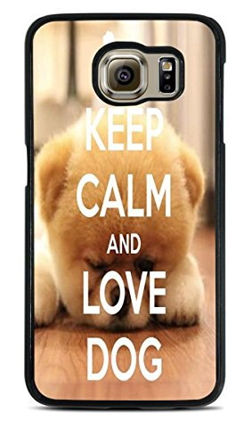 Trendy Accessories Keep Calm And Love Dog Quote Design Print Image Black Silicone Case for Samsung Galaxy S6 EDGE