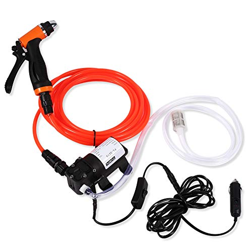 Electrical Car Wash Pump-12V DC Portable High Pressure Self-priming Quick Car Cleaning Water Pump Electrical Washer Kit for Watering Cleaning Home Car Use With Spray Hose Power Cord Input Hose