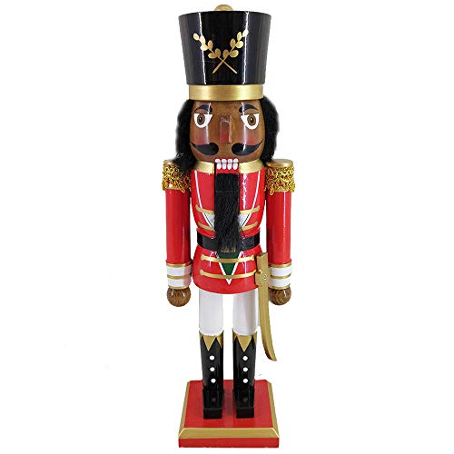 (Christmas Holiday Wooden African American Nutcracker Figure Soldier with a Red Uniform Jacket with Gold Trim & Golden Sword, Black Hat, and White Pants, Large, 15 Inch)