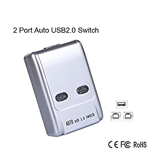 2 Ports USB 2.0 Auto Sharing Switch Switcher Sharer Hub Selector for Computer PC Printer Scanner