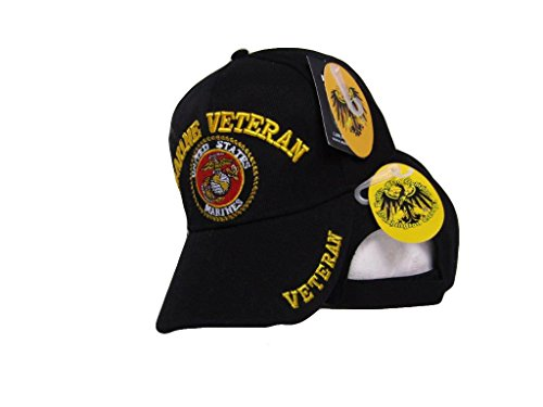 Black Marine Marines Veteran Shadow Embroidered Ball Cap Baseball Cap Hat USMC