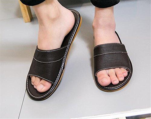 Autumn TELLW Spring Fonc¨¦ Corium Leather Slippers Women M for Brun Summer Floor Cowhide Men Smelly Anti Wooden RxxtBSw4