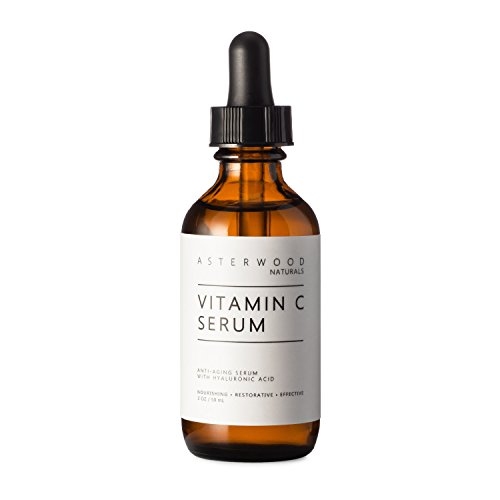 Vitamin C Serum 2 oz with Organic Hyaluronic Acid - Lighten Sun Spots, Anti Aging, Anti Wrinkle - Light and Oxygen Stable MAP Vitamin C - ASTERWOOD NATURALS - Classic Formula Bottle