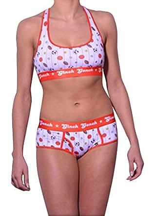 Ginch Gonch women's Sport Bra XS Orange/ White multi print