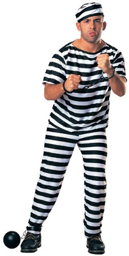 Adult Prisoner Man Costume With Ball and Chain - Convict Jailbird (Jailbird Adult Costume)