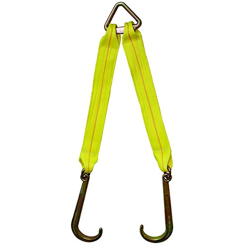 3'' x 24'' Tow Strap V Bridle with Forged Grade 70 14'' Towing J Hooks, Assembled in The USA, Heavy Duty, Working Load Limit: 4,700 lbs. by Boxer Tools