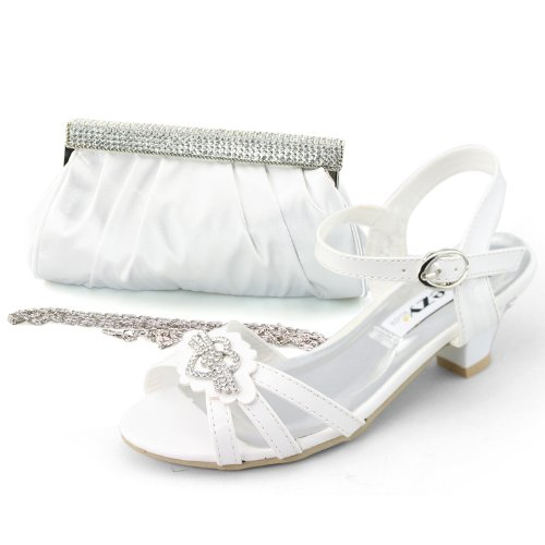 SHOEZY Girls Dress Jewels Low Heels Shoes Matching Satin Clutch Evening Bag