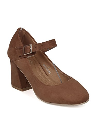Jane Suede Brown Mary - Alrisco Women Faux Suede Mary Jane Block Heel Pump HB30 - Tan Faux Suede (Size: 8.0)