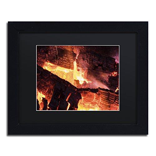 Trademark Fine Art Fireplace by Kurt Shaffer, Black Matte, Black Frame 11x14-Inch by Trademark Fine Art