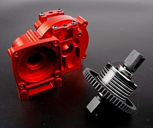 (Hockus Accessories CNC Ally Center Differential Assembly kit Gearbox Transmission Set for 1/5 losi 5ive-t 5t Rovan LT rc car Part - (Color: Red))