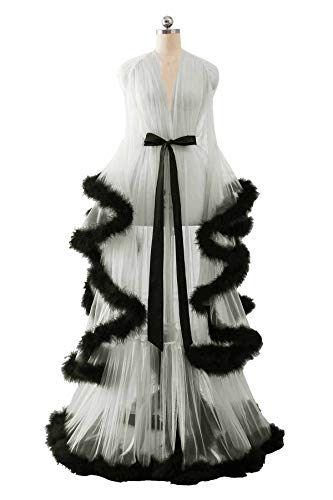 Changuan Sexy Illusion Long Lingerie Robe Nightgown Bathrobe Sleepwear Feather Bridal Robe Wedding Scarf Ivory-Black S/M
