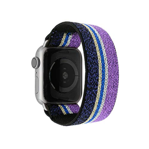 Tefeca Purple Glitter Stripe Pattern Elastic Compatible/Replacement Band for Apple Watch 38mm 40mm 42mm 44mm (Silver Adapter for 38mm/40mm Apple Watch, Wrist Size : 6.0-6.4 inch (L2))