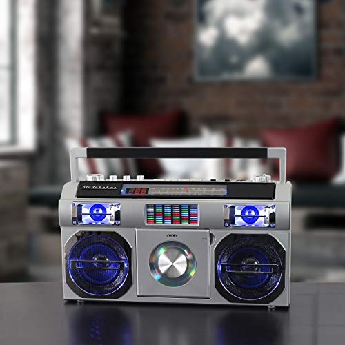Studebaker SB2149S Master Blaster Bluetooth Boombox with 3 Way Power, AM/FM Radio, USB Port, CD Player with MP3 Playback, LED EQ and 10 Watts RMS Power in Silver