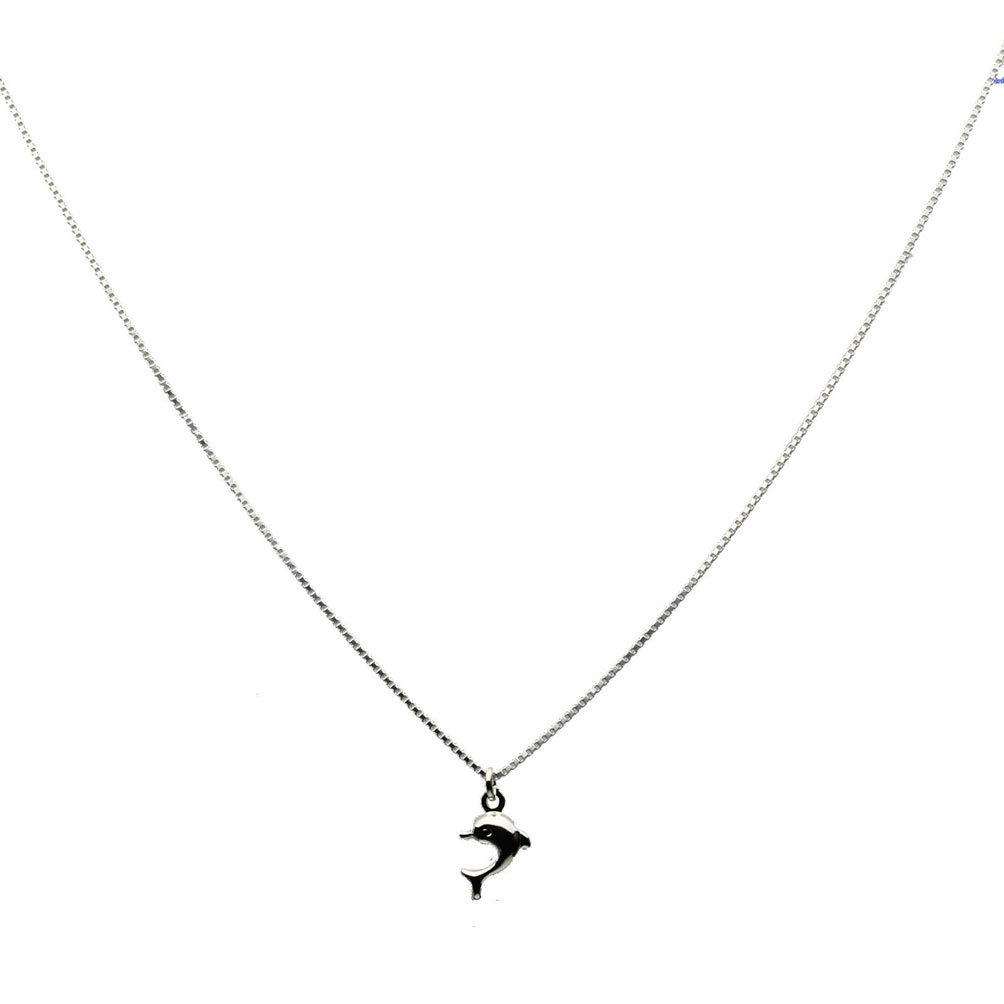 Sterling Silver Tiny Dolphin Charm Box Chain Nickel Free Necklace Italy