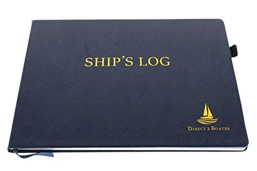 Direct 2 Boater Elegant Blue Hard Bound Ship's Log Book with Place Marker & Pen Holder, Hardbound Book