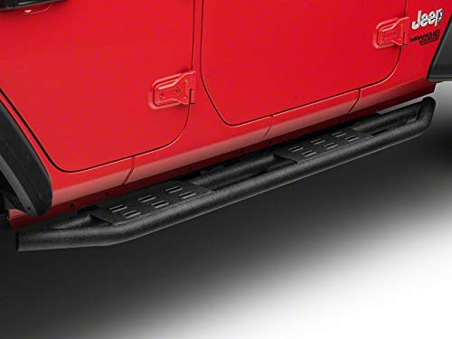 RED ROCK Redrock 4x4 Side Armor with Step Pads - Textured Black - for Jeep Wrangler JL 4 Door 2018-2019
