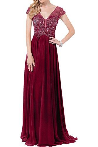 Linie Abendkleider Lang Luxurioes Braut Ballkleider A Marie La Brautmutterkleider Perlen Weinrot Rock Kurzarm qfvSXSgx