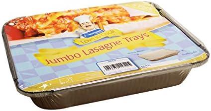 Jumbo lasaña alimentos cocina bandejas de aluminio con tapa, 3 ...