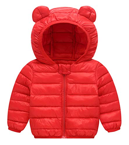 Happy Cherry Baby Boys Girls Puff Jacket Hoodie Coat Winter Down Cotton Jacket Red