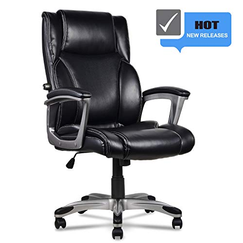 High-Back Executive Leather Office Desk Chair Home Computer Chair with Memory Foam & Adjustable Lumbar for Females Males, Office Home Use (Black)