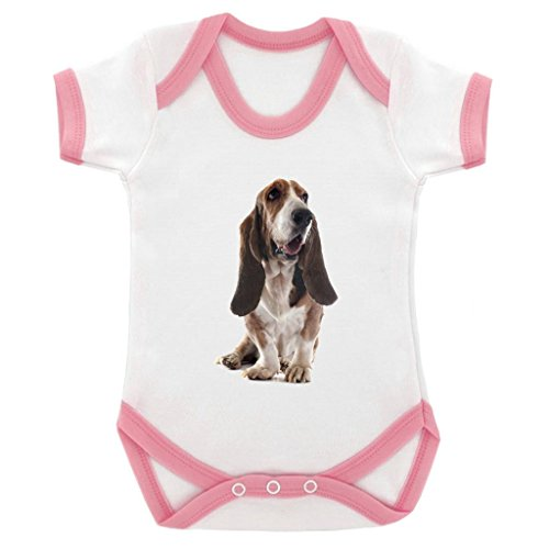 1StopShops Bloodhound Dog Image Baby Bodysuit White with Pink Trim