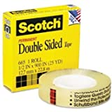 3M 665 Double-Sided Tape, 1/2'' x 900'' - Clear- Case of 72 Packs