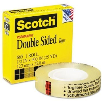 3M 665 Double-Sided Tape, 1/2'' x 900'' - Clear- Case of 72 Packs by 3M