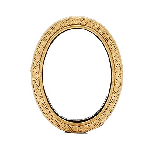 Odoria 1:12 Miniature Oval Wall Mirror Gold Frame Dollhouse Decoration -