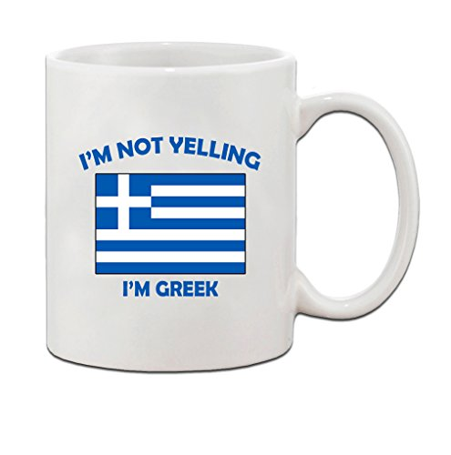 m Greek Greece Greeks Ceramic Coffee Tea Mug Cup - Holiday Christmas Hanukkah Gift for Men & Women (Greek Mug)