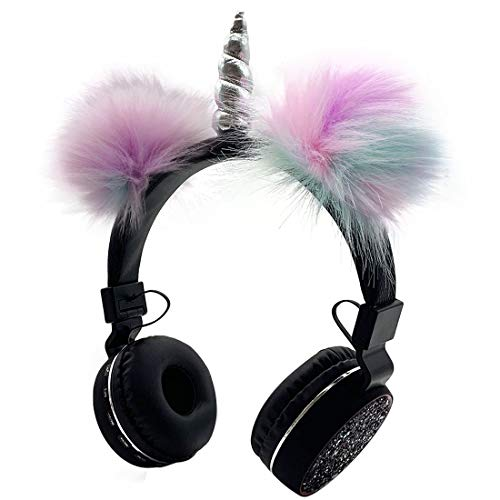Bluetooth 5.0 Headphones with Fluffy Cat Ears for Kids, Kids Headband Earphone Foldable Headset Rechargeable Support TF…