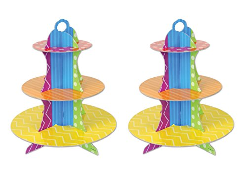 Beistle 52092 2 Piece Dots & Stripes Cupcake Stands, 13.5