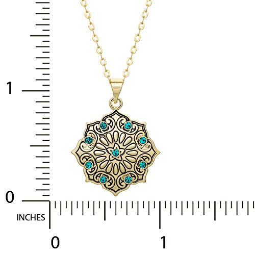 Disney Aladdin Yellow Gold Plated Crystal Lotus Flower Pendant Necklace, 18 Chain