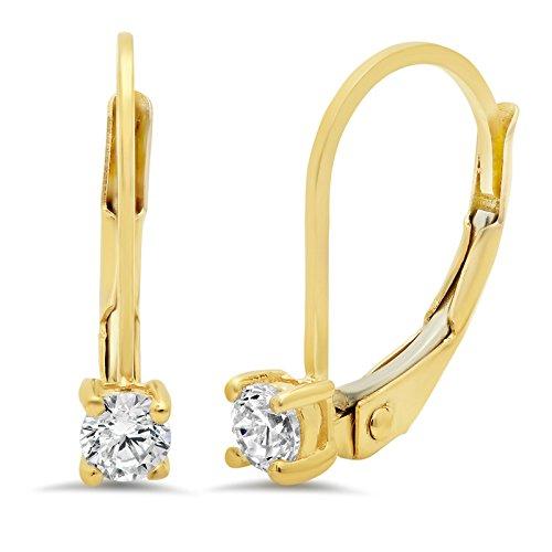 0.70 CT BRILLIANT ROUND CUT Simulated Diamond Solitaire DROP DANGLE LEVERBACK EARRINGS 14K Yellow (Brilliant Cut Dangling Earrings)
